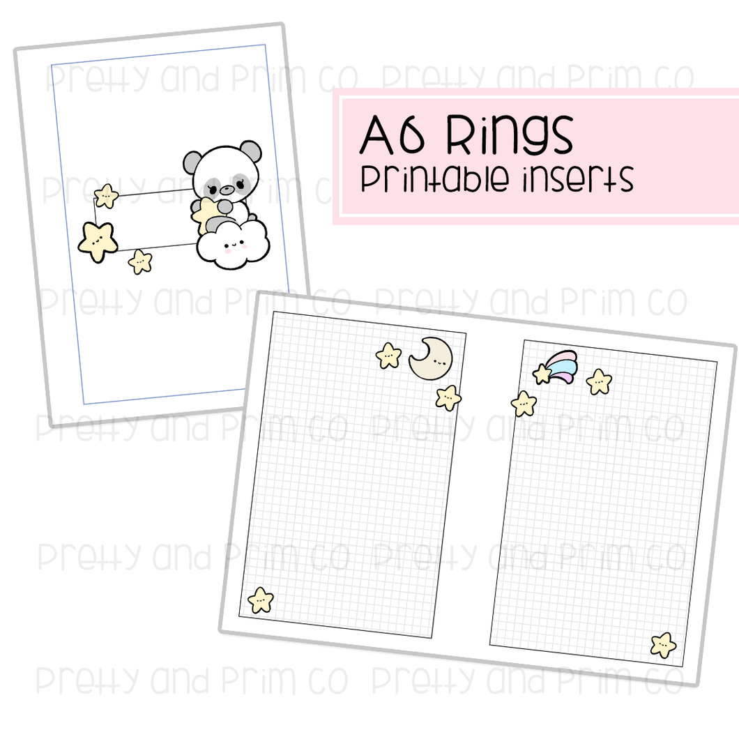 A6 Rings - Star Gazer Kimmie Printable Inserts