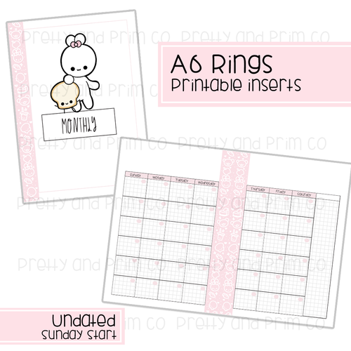 A6 Rings - Undated Sunday Start Monthly Printable Inserts