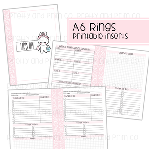 A6 Rings - Tidy Up Printable Inserts