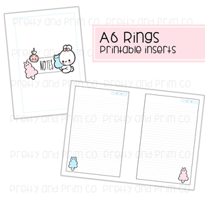 A6 Rings - Kitty Carnival Lined Notes Printable Inserts
