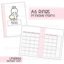 A6 Rings - Homeschool Bundle Monday Monthly Start Printable Inserts