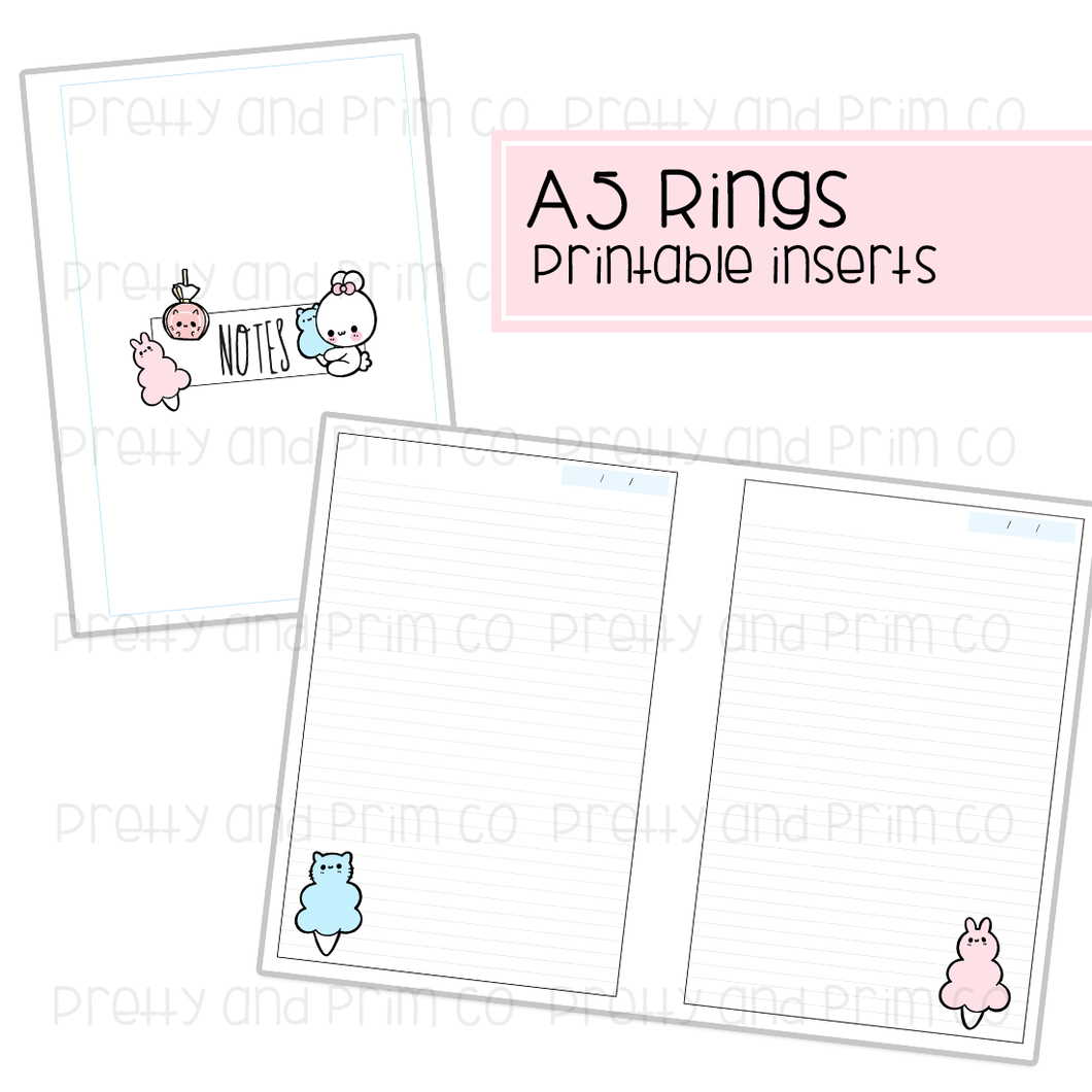 A5 Rings - Kitty Carnival Lined Notes Printable Inserts
