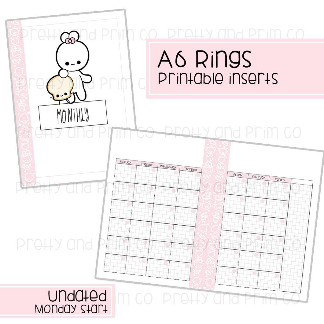 A6 Rings - Undated Monday Start Monthly Printable Inserts