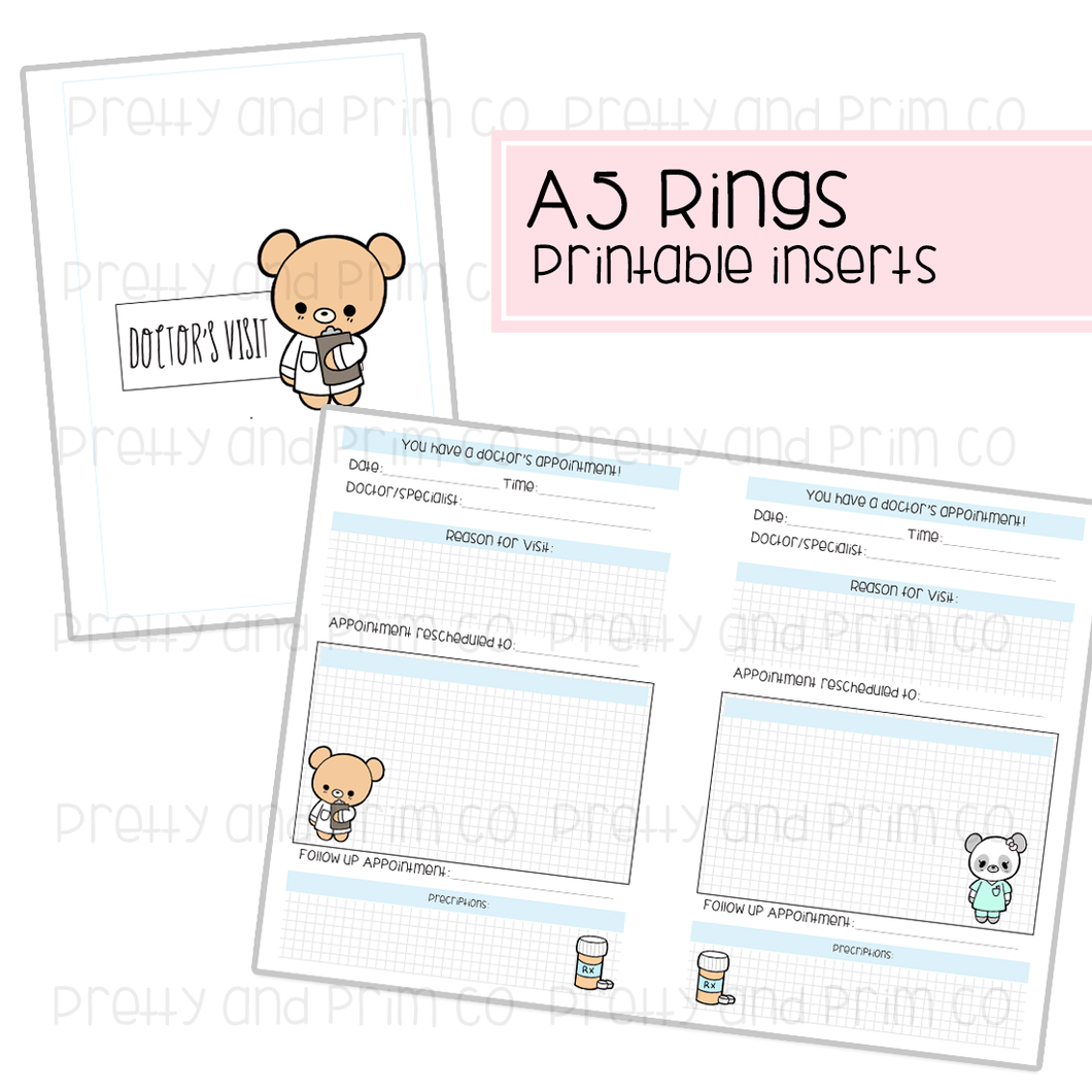 A5 Rings - Doctor Visit Printable Inserts