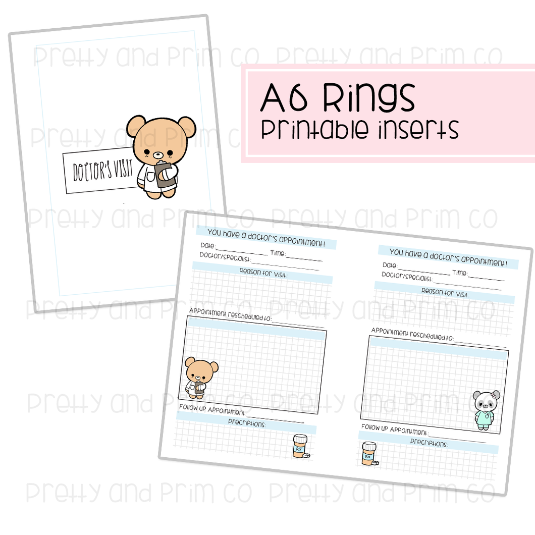 A6 Rings - Doctor Visit Printable Inserts