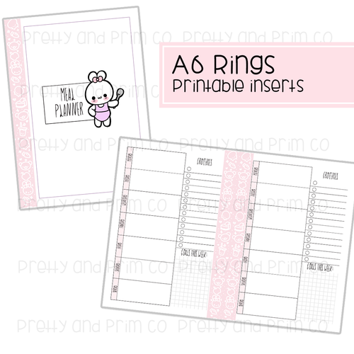 A6 Rings - Meal Planner Printable Inserts
