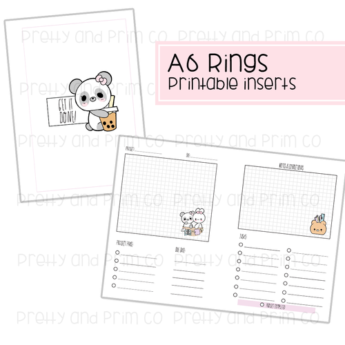 A6 Rings - Project Planner Printable Inserts