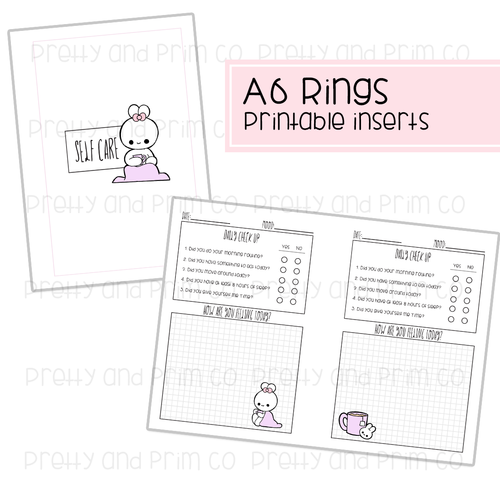 A6 Rings - Self Care Printable Inserts