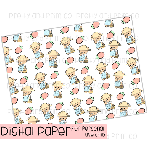 Strawberry Farmer Digital Paper