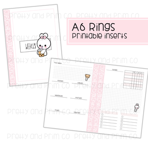 A6 Rings - Weekly Printable Inserts