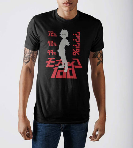 Mob Psycho Percentage Level Adult Male Crew Neck T-Shirt