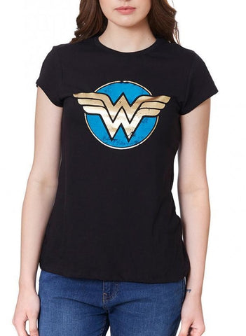 Wonder Woman Wonderous Black Half Sleeve Women