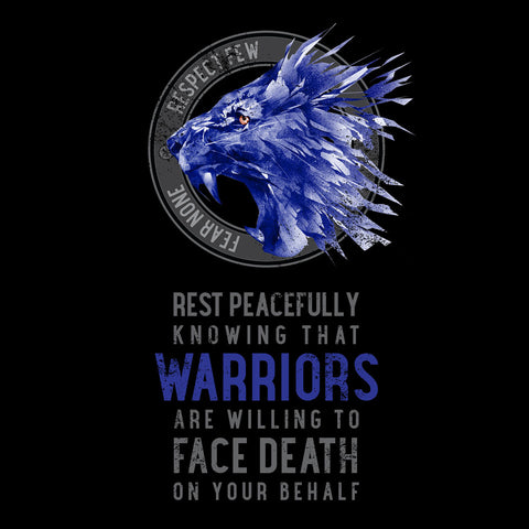 Rest Peacefully Knowing That Warriors Are Willing to Face Death on Your Behalf Lion Short-Sleeve T-Shirt