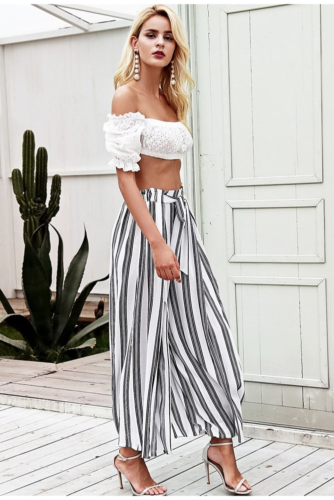 Layla Striped Pants | White
