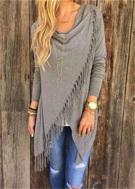 KNITTED TASSEL PULLOVER - oceanscollection