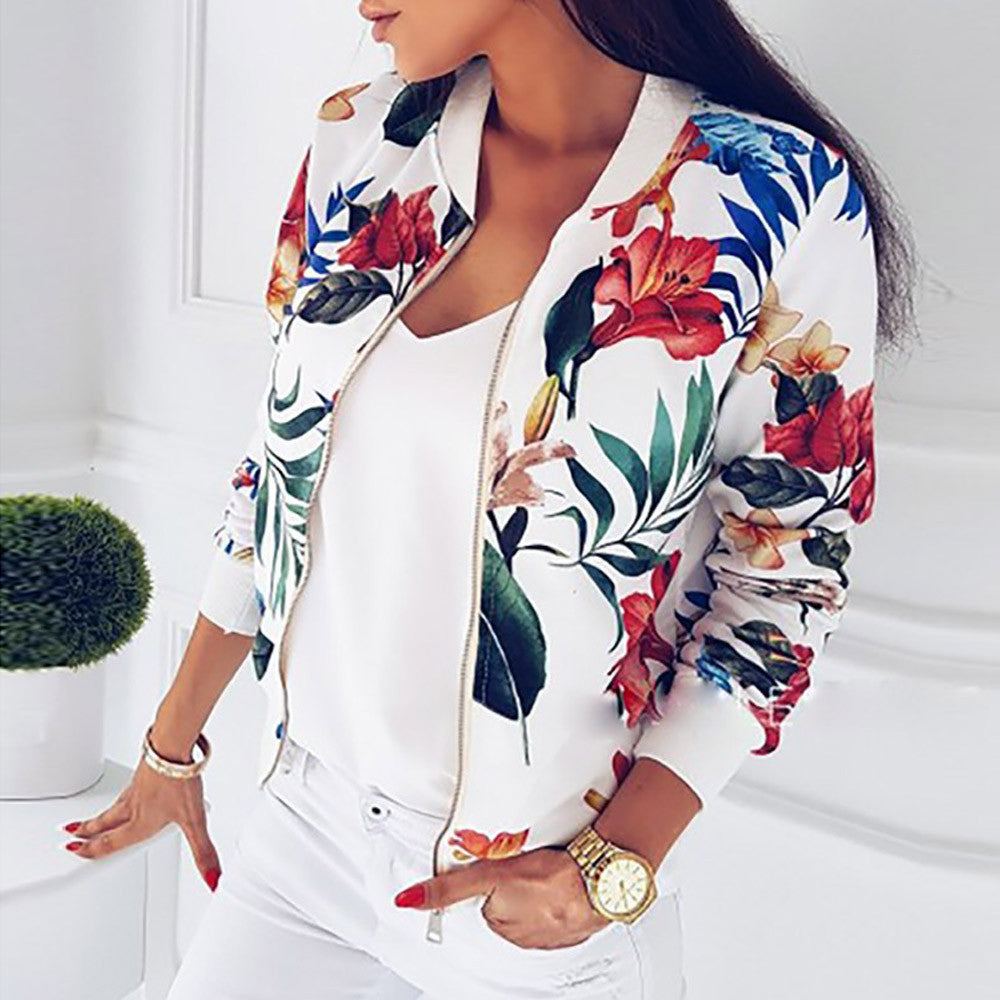 FLORAL RIBBED BOMBER - oceanscollection