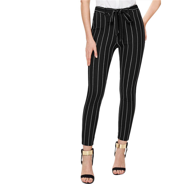 PINSTRIPE TAPERED PANTS - oceanscollection