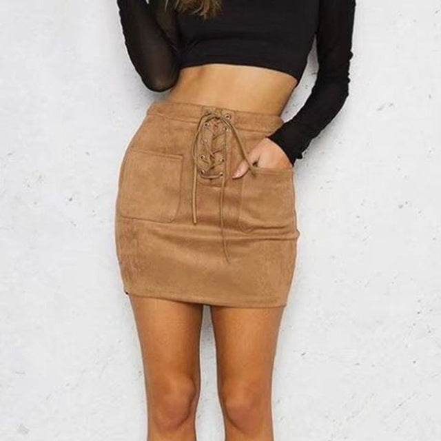 Suede Lace Up skirt - Khaki