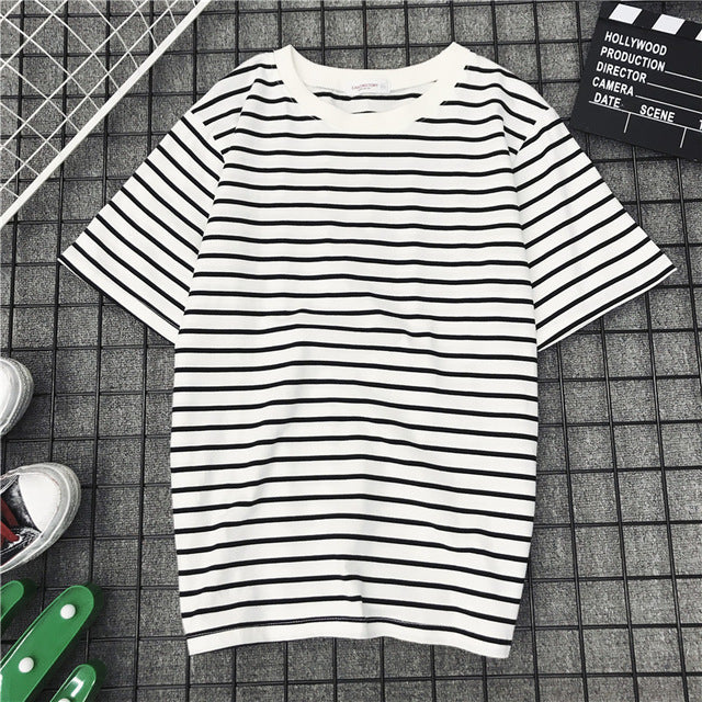 BLACK/WHITE STRIPED TEE - oceanscollection