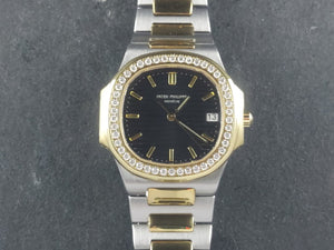 Patek Philippe Nautilus Ladies Quartz 18 ct. Yellow Gold / Stainless Steel Custom Diamond Bezel 3900