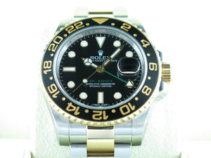"Rolex GMT Master II Ceramic Bezel 18 ct. Yellow Gold / Stainless Steel ""Alphanumeric"" Series 116713"