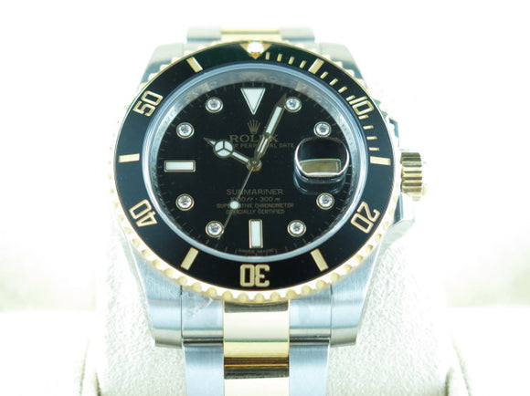 Rolex Submariner Ceramic Bezel Serti Diamond Hour Markers 18 ct. Yellow Gold / Stainless Steel