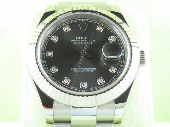 Rolex Datejust II 41 mm 18 ct. White Gold Fluted Bezel Diamond Hour Markers
