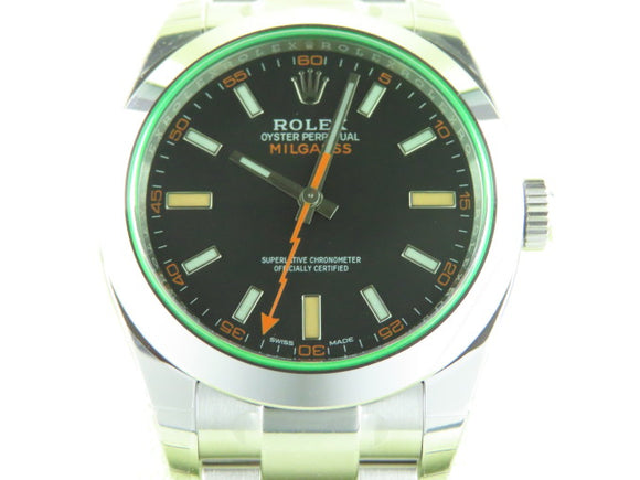 Rolex Milgauss Green Crystal Black Dial 116400 New