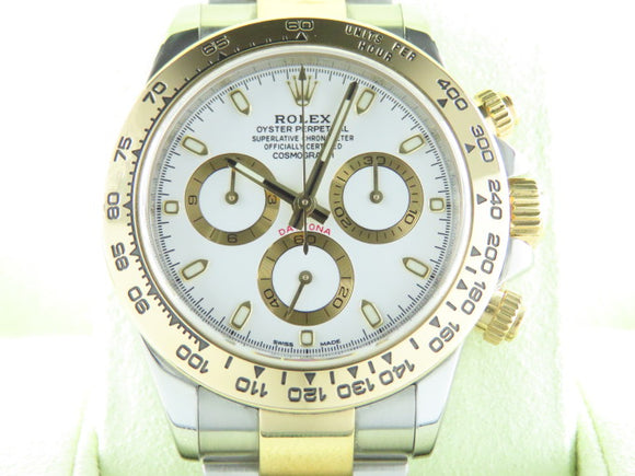 Rolex Daytona 18 ct. Yellow Gold / Stainless Steel White Dial 116503 August 2017