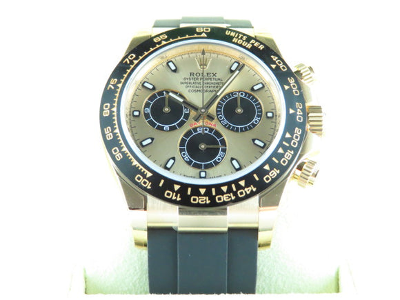 Rolex Daytona Ceramic Bezel 18 ct. Yellow Gold Panda Oysterflex 116518