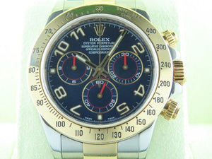 "Rolex Daytona 18 ct. Yellow Gold / Stainless Steel Racing Blue Dial ""G"" Series 116523"