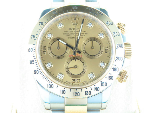Rolex Daytona 18 ct. Yellow Gold / Stainless Steel Champagne Dial Diamond Hour Markers