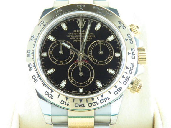 Rolex Daytona 18 ct. Yellow Gold / Stainless Steel Black Dial