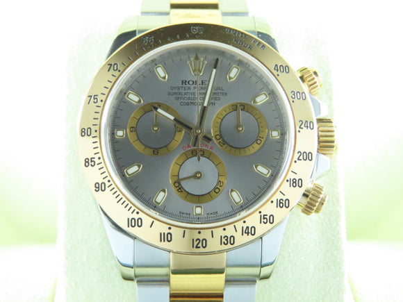 Rolex Daytona 18 ct. Yellow Gold / Stainless Steel Grey Dial 116523 July 2012