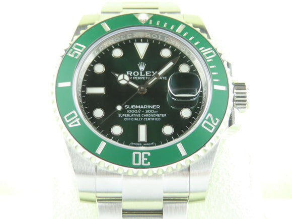 Rolex Submariner Date Ceramic Bezel Green Dial Hulk 116610LV December 2017