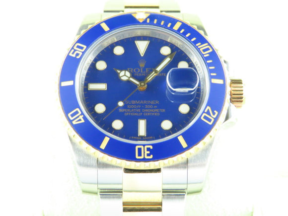 Rolex Submariner Ceramic Bezel Matt Dial 18 ct. Yellow Gold / Stainless Steel Blue Dial