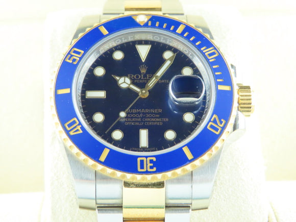Rolex Submariner Ceramic Bezel 18 ct. Yellow Gold / Stainless Steel Blue Dial 116613 August 2017