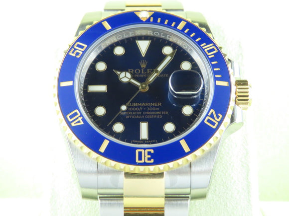 Rolex Submariner Ceramic Bezel 18 ct. Yellow Gold / Stainless Steel Blue Dial 116613 New Old Stock 2019