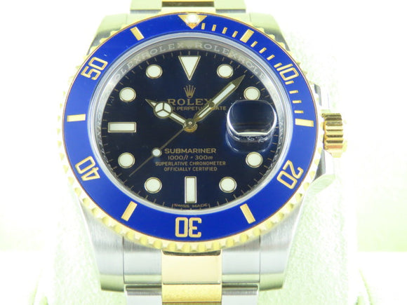 Rolex Submariner Ceramic Bezel 18 ct. Yellow Gold / Stainless Steel Blue Dial 116613 May 2017