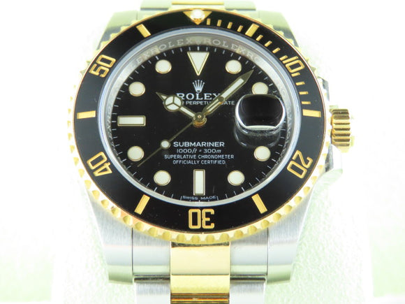 Rolex Submariner Ceramic Bezel 18 ct. Yellow Gold / Stainless Steel Black Dial 116613 June 2017