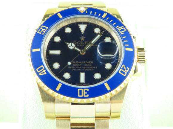 Rolex Submariner Ceramic Bezel 18 ct. Yellow Gold Blue Dial 116618 2019
