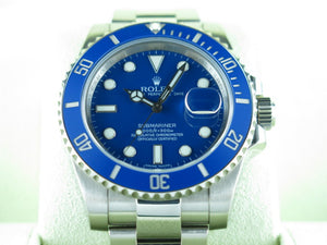 "Rolex Submariner Ceramic Bezel Smurf 18 ct. White Gold ""Alphanumeric"" Series 116619 2015"