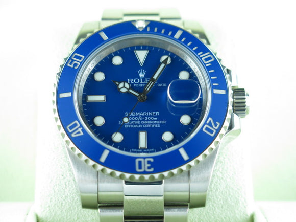 Rolex Submariner Ceramic Bezel Smurf 18 ct. White Gold