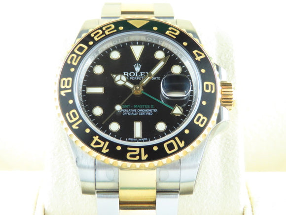 Rolex GMT Master II Ceramic Bezel 18 ct. Yellow Gold / Stainless Steel 116713 August 2018