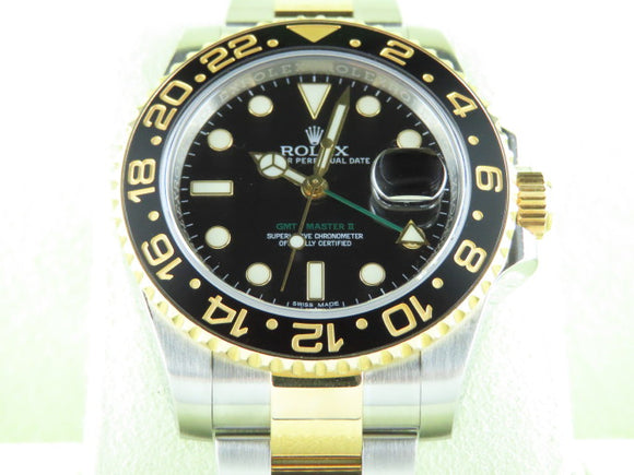Rolex GMT Master II Ceramic Bezel 18 ct. Yellow Gold / Stainless Steel 116713 June 2014