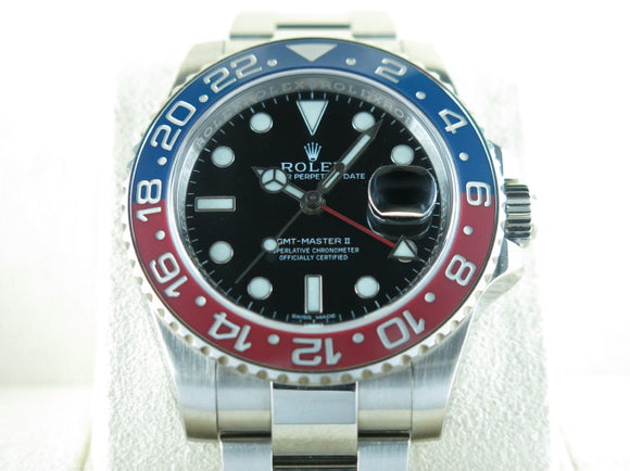 Rolex GMT Master II Ceramic Bezel 18 ct. White Gold Black Dial Pepsi 116719