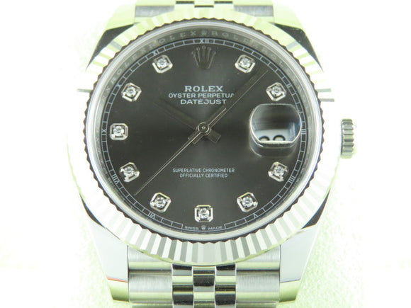 Rolex Datejust 41 mm Rhodium Diamond Dial 126334 Unworn