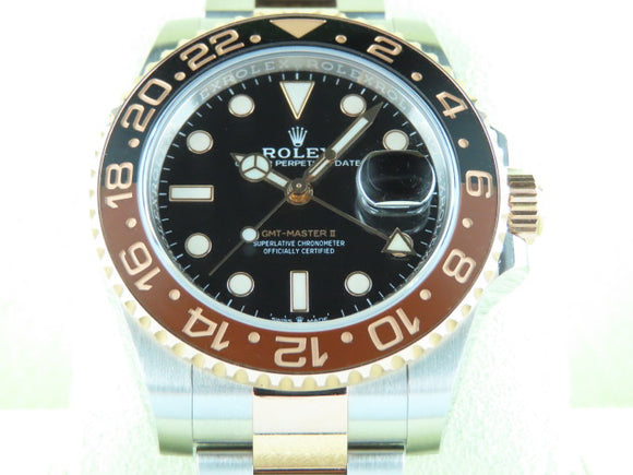 Rolex GMT Master II Ceramic Bezel 18 ct. Rose Gold / Stainless Steel Rootbeer 126711 June 2018