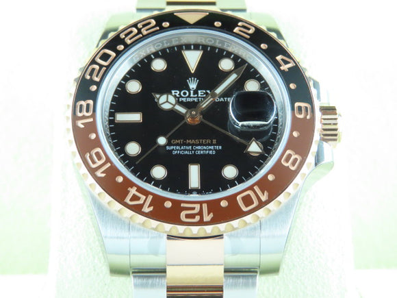 Rolex GMT Master II Ceramic Bezel 18 ct. Rose Gold / Stainless Steel Rootbeer 126711 New