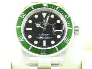 "Rolex Submariner Green Bezel 50th Anniversary Kermit ""M"" Series 16610LV"
